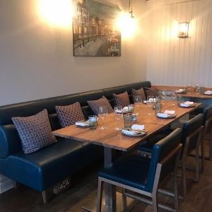 Blue leather restaurant seating