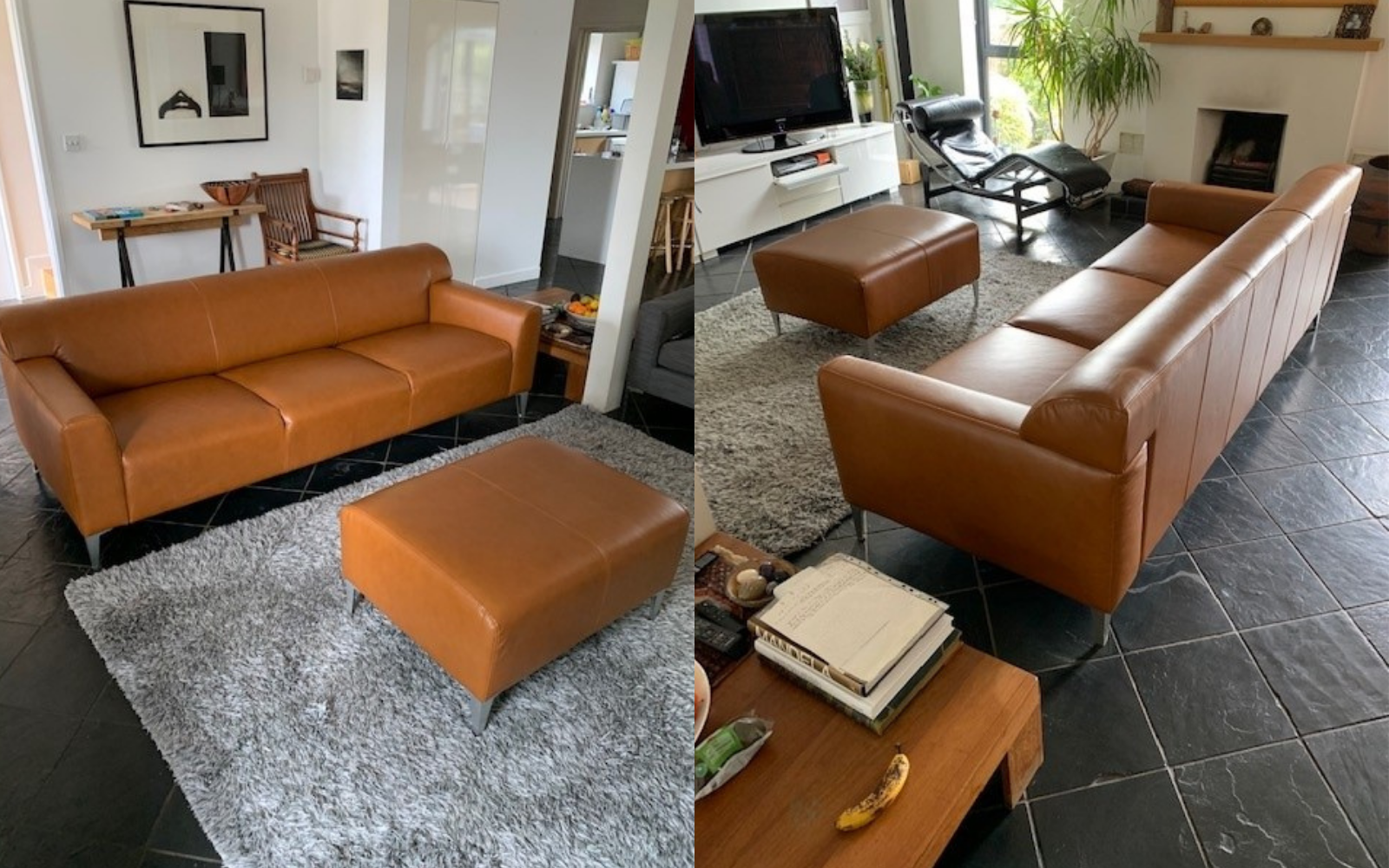 Example of reupholstering furniture, leather sofa and ottoman